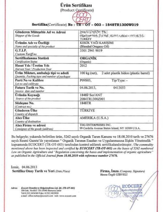 Oregano Oil Organic certification